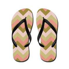 Green and Pink ZigZag Flip Flops #Zandiepants #flipflops