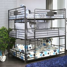 Shop for Furniture of America Flynn Industrial Style Metal Antique Black Triple Full Bunk Bed. Get free delivery at Overstock - Your Online Furniture Outlet Store! Get in rewards with Club O! Triple Bunk Beds, Full Bunk Beds, Kids Bunk Beds, Loft Beds, Loft Spaces, Small Spaces, Living Spaces, Modern Bunk Beds, Modern Futon