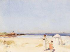 Sir William Russell Flint (1880 — 1969. UK, Scotland) A Blue Day, Bamburgh. 1921.
