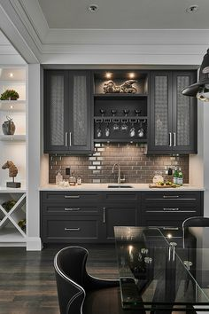 Transitional Home Bar by Horizon Pacific Contracting Home Decor Kitchen, Kitchen Interior, New Kitchen, Home Interior Design, Home Kitchens, Kitchen Wet Bar, Kitchen Bar Design, Wet Bar Basement, Basement Kitchenette
