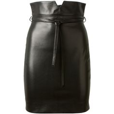 Saint Laurent Black Leather Skirt ($2,790) ❤ liked on Polyvore featuring skirts, bottoms, black, faldas, leather skirt, leather belt, yves saint laurent, black leather skirt and black skirt
