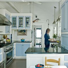 Blue kitchen-vaulted ceiling