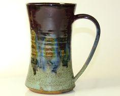 15oz Mug Ceramic Purple Blue and Green Large by PrimitivePots, $25.00