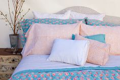 Kerry Cassill - Luxury Indian printed Bedding and Apparel — Turquoise Booti Duvet