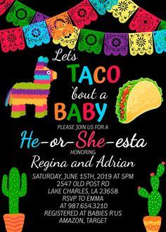 Fiesta Gender Reveal Party, Gender Reveal Themes, Gender Reveal Party Decorations, Gender Party, Gender Reveal Invitations, Baby Invitations, Baby Shower Gender Reveal, Printable Invitations, Gender Revel Cake