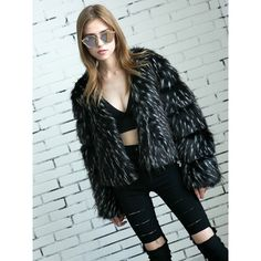 Choies Black Open Front Fluffy Faux Fur Coat ($81) ❤ liked on Polyvore featuring outerwear, coats, black, open front coat, imitation fur coats, faux fur coat and fake fur coats