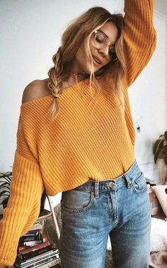 summer outfits Mustard Yellow Boat Neck Off The Shoulder Crop Top Sweater + High-waisted Light Wash Boyfriend Jeans