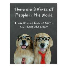 Funny Golden Retriever Math Joke Poster by #AugieDoggyStore