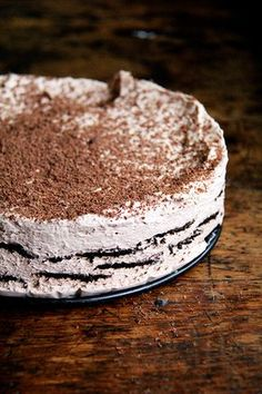chocolate-espresso ice box cake - no baking required for this beauty! Just layers of chocolate wafers and espresso whipped cream! Icebox Desserts, Icebox Cake Recipes, Frozen Desserts, Summer Desserts, No Bake Desserts, Just Desserts, Dessert Recipes, Cold Desserts, Oreo Icebox Cake