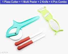 Graters  Pizza Cutter , Multi  Peeler, Knife  Material:  Steel & Plastic Size : (L x W)  20 cm X 12 cm Description: It Has 1 Pizza Cutter 1 Piece Of Multi Peeler & 2 Piece Of  Knife Country of Origin: India Sizes Available: Free Size   Catalog Rating: ★4 (1508)  Catalog Name: Elite Assorted Home & Kitchen Utilities Vol 1 CatalogID_628547 C135-SC1645 Code: 081-4375174-882