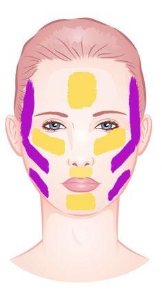Rundes Geicht oval wirken lassen: Dunklere Foundation an Schläfen, Wangenknochen und Kiefer machen schmaler, Highlighter in der Gesichtsmitte auftragen