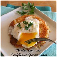 Poached Eggs Over Cauliflower Quinoa Cakes