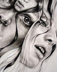 (Abbey Watkins) overlaying, multiple eyes/features, scale - Another! Ap Studio Art, Arte Gcse, Art Sketches, Art Drawings, Kunst Portfolio, Distortion Art, A Level Art Sketchbook, Art Alevel, Photocollage