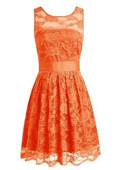 Wedtrend Women's Floral Lace Dress Bridesmaids Dress Short Prom Dress 10103Orange2