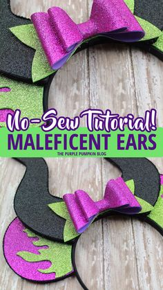 How to make no-sew Maleficent Ears! These Maleficent Ears are perfect for fans of the Mistress of Evil! If you love Mickey Ears at the Disney Parks and have always wan Diy Disney Ears, Disney Mickey Ears, Minnie Mouse, Diy Disney Gifts, Mickey Mouse Ears Headband, Disney Bows, Disney Babies, Maleficent Party, Disney Maleficent