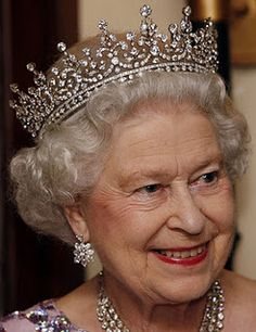 Girls of Great Britian and Ireland Tiara with the base attached worn by HM Queen Elizabeth II