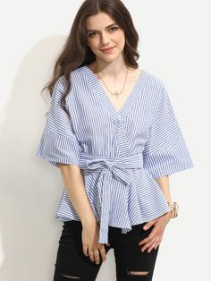 DIDK Womens Tops and Blouses Woman's Fashion 2017 Tops Blue Striped V Neck Half Sleeve Tie Waist Surplice Blouse AliExpress Affiliate's Pin. Locate the offer simply by clicking the VISIT button Fashion 2017, Boho Fashion, Fashion Outfits, Womens Fashion, Blouse Patterns, Blouse Designs, Blouse Online, Cotton Blouses, Blouse Styles
