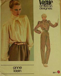 """Bluse von Anne Klein-1970's - Vogue amerikanische Designer Muster 2611 ungeschnittenen Größen 12 Büste 34"""""""