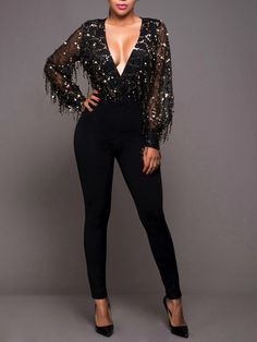 2541e814e3f Newest Sexy Women Black Silm Tassel Sparkly Jumpsuit Deep V Neck Hollow Out  Long Sleeve Jumpsuits