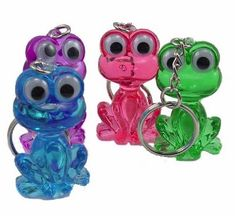 These funky Frog Keyrings are sure to inject some colour and fun into a dull set of keys! Each acrylic frog offers a great level of detail including googly eyes and detailing around the entire body. Also great for distinguishing your keys from other keys in the household, and a great novelty gift for the animal lover. Keychain easily attaches to keys with a conventional split-ring type keyring.