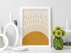 Sunburst Boho, Boho Wall Art, Abstract Sun, Printable Art, Mustard Dark Yellow, Yellow Sun, Mid Century Modern, Sunray Print, Sunset Sunrise, Art Prints, Digital Download, Minimalist Decor, Summer Home Decor #wallart #printableart #etsy #sun #sunrays #yellowdecor #bohoart