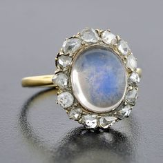 A Brandt and Son - Early Victorian Sterling & 18kt Moonstone & Diamond Ring