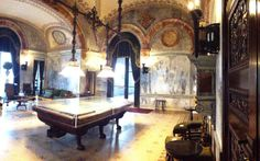 Inspiring old mansions! Marble clad billiard room Chuah Breakers Vanderbilt Mansion in Newport. The Breakers, Old Mansions, Billiard Room, Newport, Interior Inspiration, Interior Design, Marble, Home, Nest Design