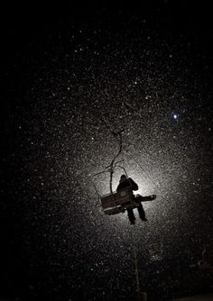 a lift into the universe of stars/snow