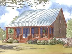 e-Plans Low Country House Plan – Cabin Style Plan With Full Length Front Porch – 1661 Square Feet and 3 Bedrooms from e-plans – House Plan Code HWEPL77877