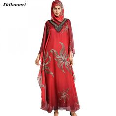 Muslim Dress Floral Print Abaya In Dubai Islamic Clothing With Headband For Women Red Elegant Casual Loose Musulmane One Size #Islamic clothing Muslim Dress, Islamic Clothing, Headbands For Women, Muslim Women, Dubai, Floral Prints, Elegant, Casual, Red