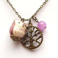 Antiqued Brass Tree Jade Porcelain Owl Necklace.