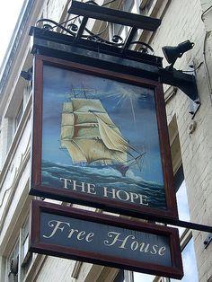 The Hope - Tottenham Court Road - Pub Sign Shop Signage, Metal Signage, British Pub, British Country, London Landmarks, London Pubs, Uk Pub, Evergreen Bush, Storefront Signs