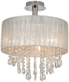 Possini Silver and Crystal Semi-Flushmount Ceiling Light | LampsPlus.com