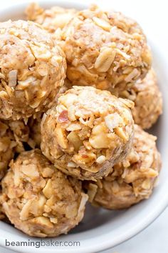 No Bake Peanut Butter Coconut Bites: delicious, easy to make, energy-boosting and super-filling. Made of just 6 simple ingredients, vegan, gluten free and healthy! http://BEAMINGBAKER.COM