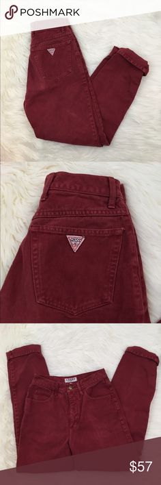 Vintage Guess High Waisted Red Jeans  Vintage dark red Guess jeans. Super soft to the touch and in great condition. Unique color. High waisted with a boyfriend cut. Guess Jeans Boyfriend