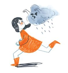 Marisa Morea Illustration - marisa, morea, marisa morea, trade, picture books, greetings cards, editorial, fiction, advertising, magazines, stationary, printed, textured, painted, digital, photoshop, illustrator, retro, girls, females, running, clouds, raining, clouds, orange, blue