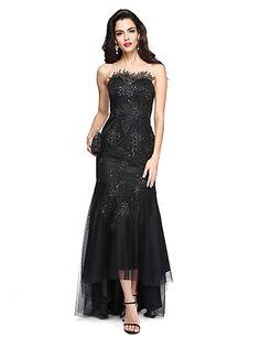 TS Couture® Evento Formal Vestido - Brillos Y Estrellas / Sexy Ajustado/Acampanado Joya Asimétrica Encaje / Tul con Apliques / Lentejuelas 5404215 2016 – $109.99