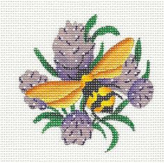New Bumble Bee on Clover Handpainted Needlepoint Canvas by Melissa Shirley | eBay