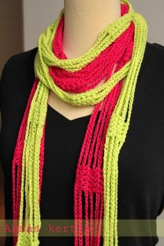 fun fast scarf.  If one made this in many colors, you could change them to match what you are wearing.