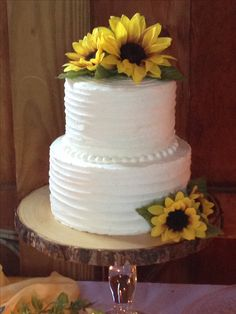 Simple, rustic, wedding cake, sunflower, navy blue and yellow ...