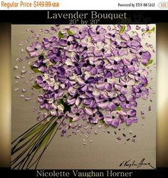 SALE Original  abstract contemporary gallery canvas  palette knife floral painting  Lavender Bouquet  by Nicolette Vaughan Horner