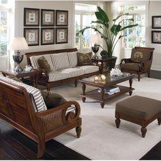 Living Room Sofa, Living Room Decor, Wooden Sofa Set Designs, British Colonial Decor, Chair And Ottoman Set, Love Seat, Furniture Design, Decoration, Home Decor