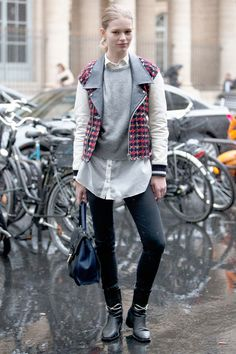 liking the little rocker vest and boots with an otherwise very feminine look