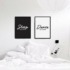 Sleep All Day, Dance All Night, Typography Print, Wall Decor, Funny Print, Black and White, Bedroom Decor, Couple Print, Set of 2 Print. Every poster is designed with love by us. We print our works with high quality inks and premium paper.