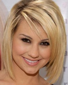 For fine hair, short haircuts should be blunt and used to add volume. A simple bob hairstyle like Chelsea Staub's, possibly with a few angled cuts to add some flare, will make your hair look fuller and less wimpy.