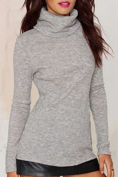 3f9d8d9fa80 Chic Turtleneck Gray Long Sleeve T-Shirt For Women Grey Turtleneck
