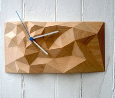 Traditional crafting takes a new approach in wall clock design. Just take a look at the Block Clock by Such + Such and get engrossed into a new world of time exploration that draws its inspiration from artistic crafting. Decor Crafts, Wood Crafts, Home Decor, Wall Clock Design, Cnc Projects, Wood Clocks, Paperclay, Wood Sculpture, Wood Design