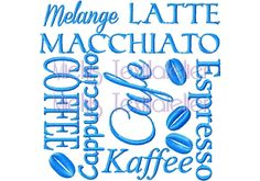 Stickdatei, Kaffee Cafe Stickschrift Freebie