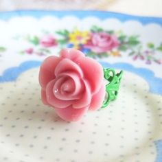 Rose Ring Pink Floral Ring Pink Rose Ring Pale Pink by Jewelsalem, $4.00