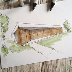 house dominic mimlich design sketch 1 - house in austria kittsee House Sketch, Austria, House Design, Photo And Video, Instagram, Architecture Illustrations, Design Homes